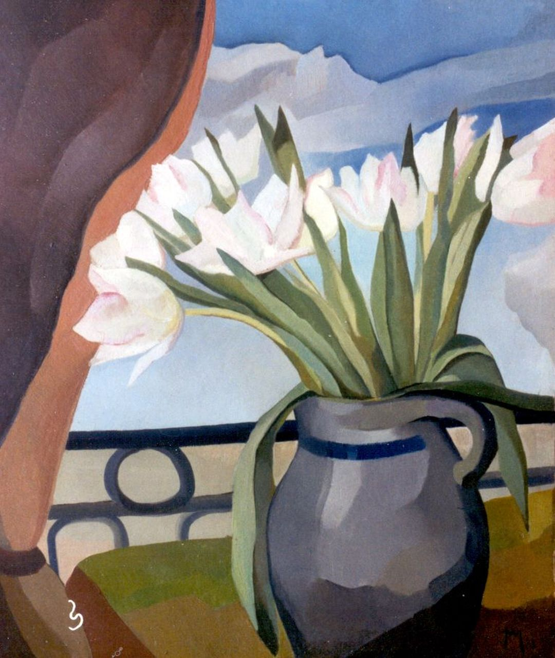 Hans van Mastenbroek | Tulips in a jug, oil on painter's board, 58.6 x 49.2 cm, signed l.r. mon. and painted '32