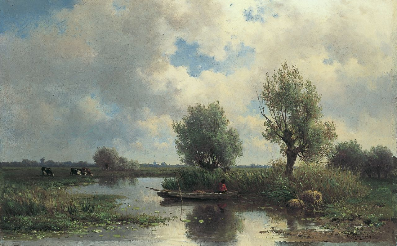 Roelofs W.  | Willem Roelofs, A Dutch polder landscape, oil on canvas 44.6 x 69.5 cm, signed l.r.
