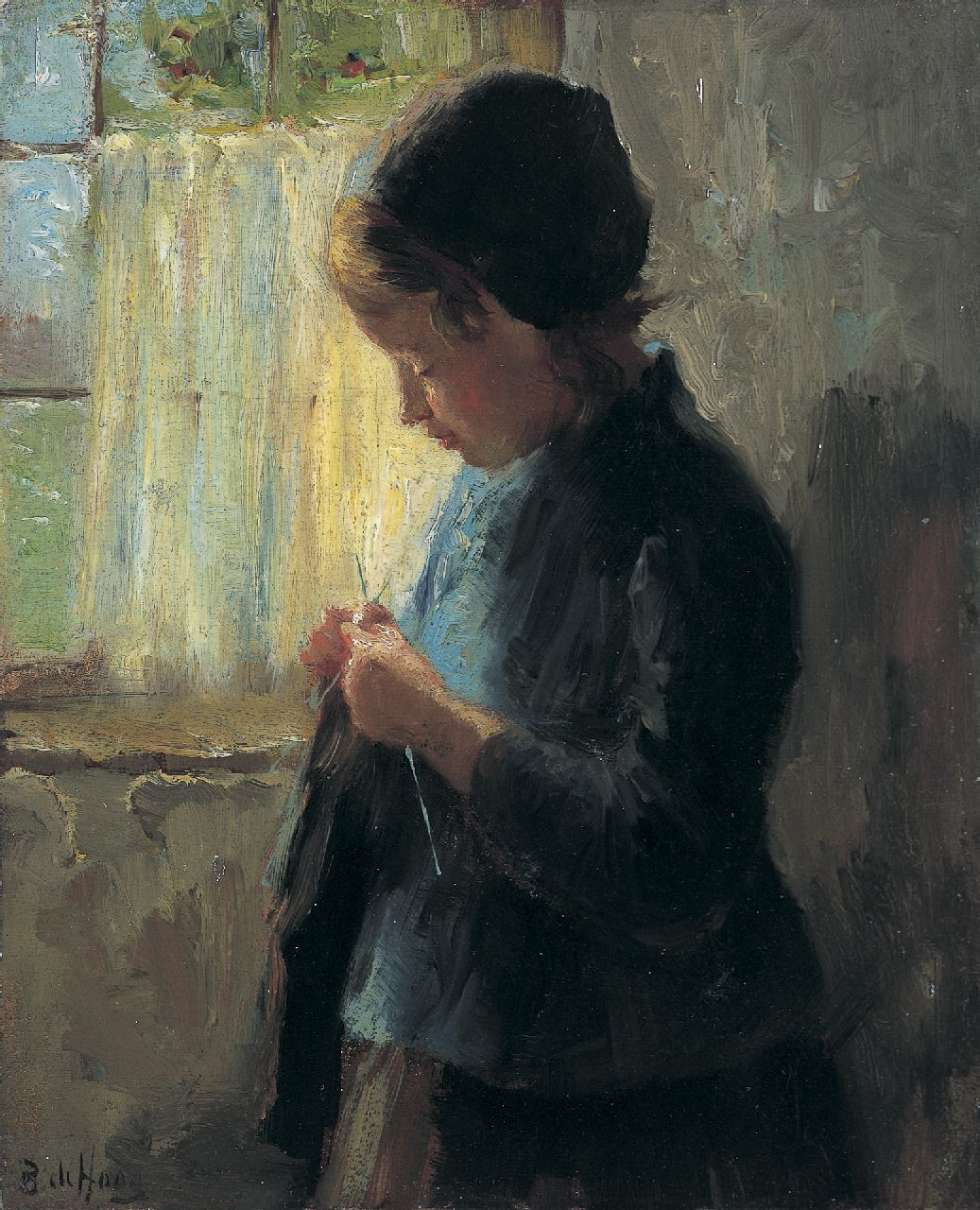Hoog J.B. de | Johan 'Bernard' de Hoog, A girl knitting, oil on panel 16.7 x 13.7 cm, signed l.l.