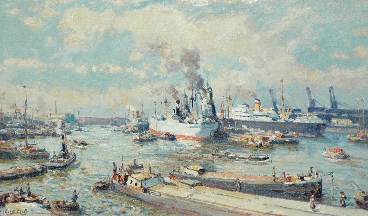 Moll E.  | Evert Moll, A harbour view, Rotterdam, oil on canvas 60.2 x 100.2 cm, signed l.l.