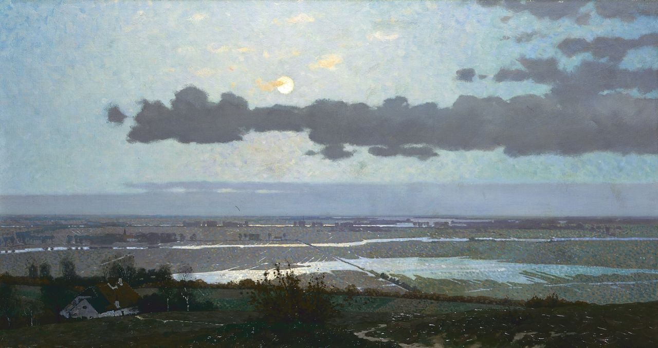 Wiggers D.  | Dirk 'Derk' Wiggers, The Ooijpolder near Nijmegen, oil on canvas 56.8 x 105.7 cm, signed l.r. and dated 1913