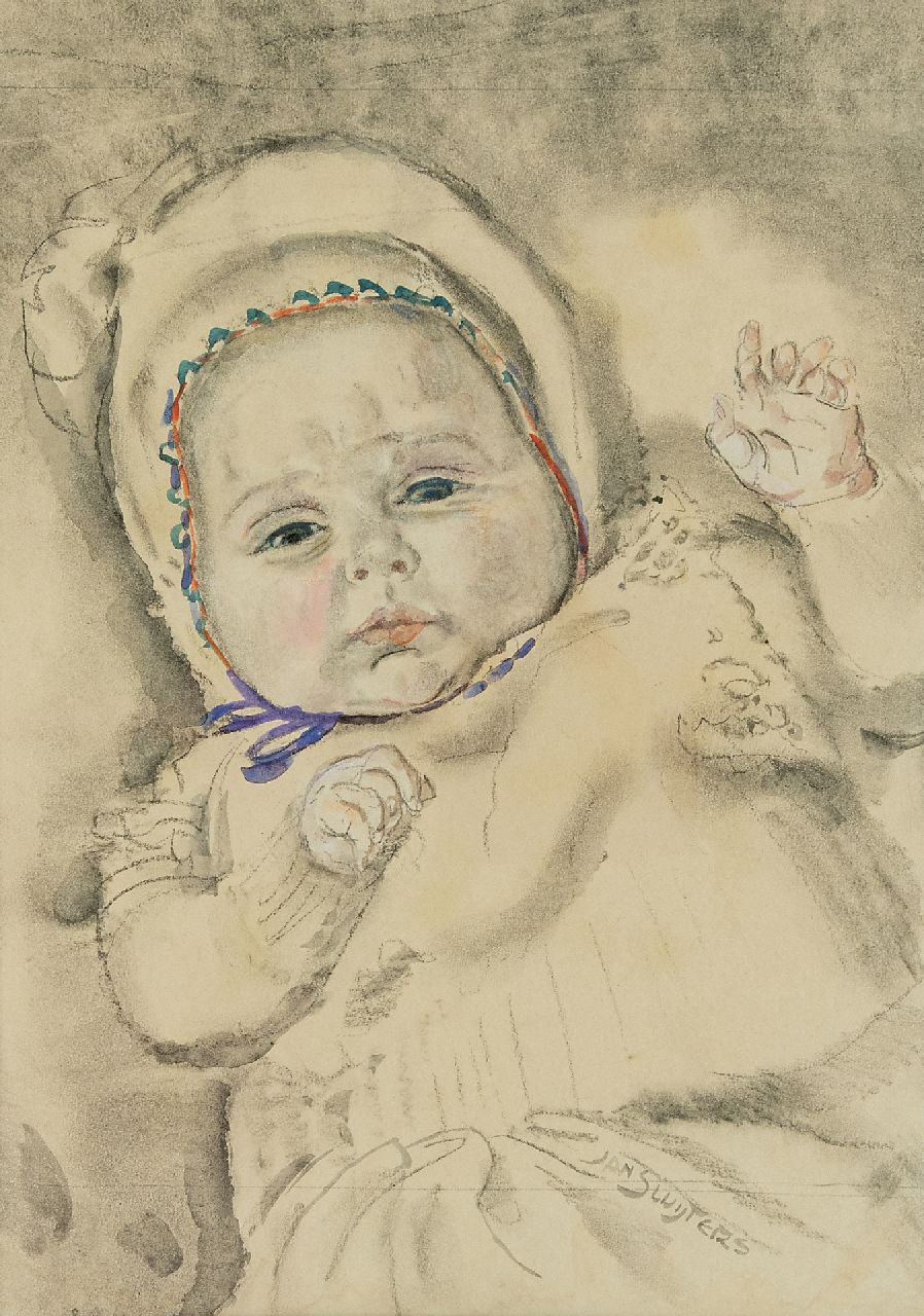 Sluijters J.C.B.  | Johannes Carolus Bernardus 'Jan' Sluijters | Watercolours and drawings offered for sale | A baby, charcoal and watercolour on paper 37.0 x 27.2 cm, signed l.r.