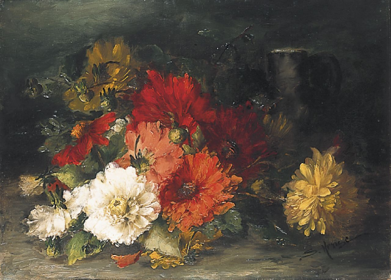 Hense S.  | Sara Hense, A still life with dahlias, oil on canvas 41.8 x 57.5 cm, signed l.r.