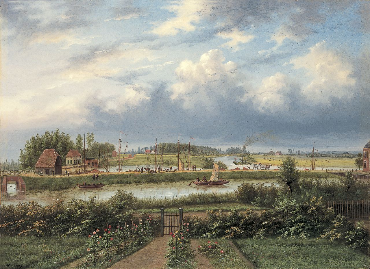 Hermanus Everhardus Rademaker | The harbour of Doesburg, oil on panel, 40.0 x 54.7 cm, signed l.l. with monogram and dated 1855
