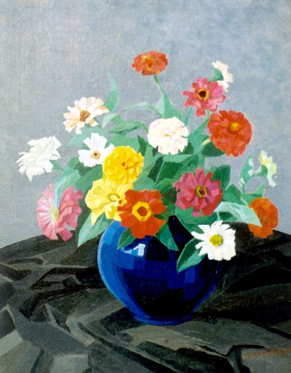 Smorenberg D.  | Dirk Smorenberg, Zinnias in a blue pot, oil on canvas 50.1 x 40.2 cm, signed l.r. and dated '24