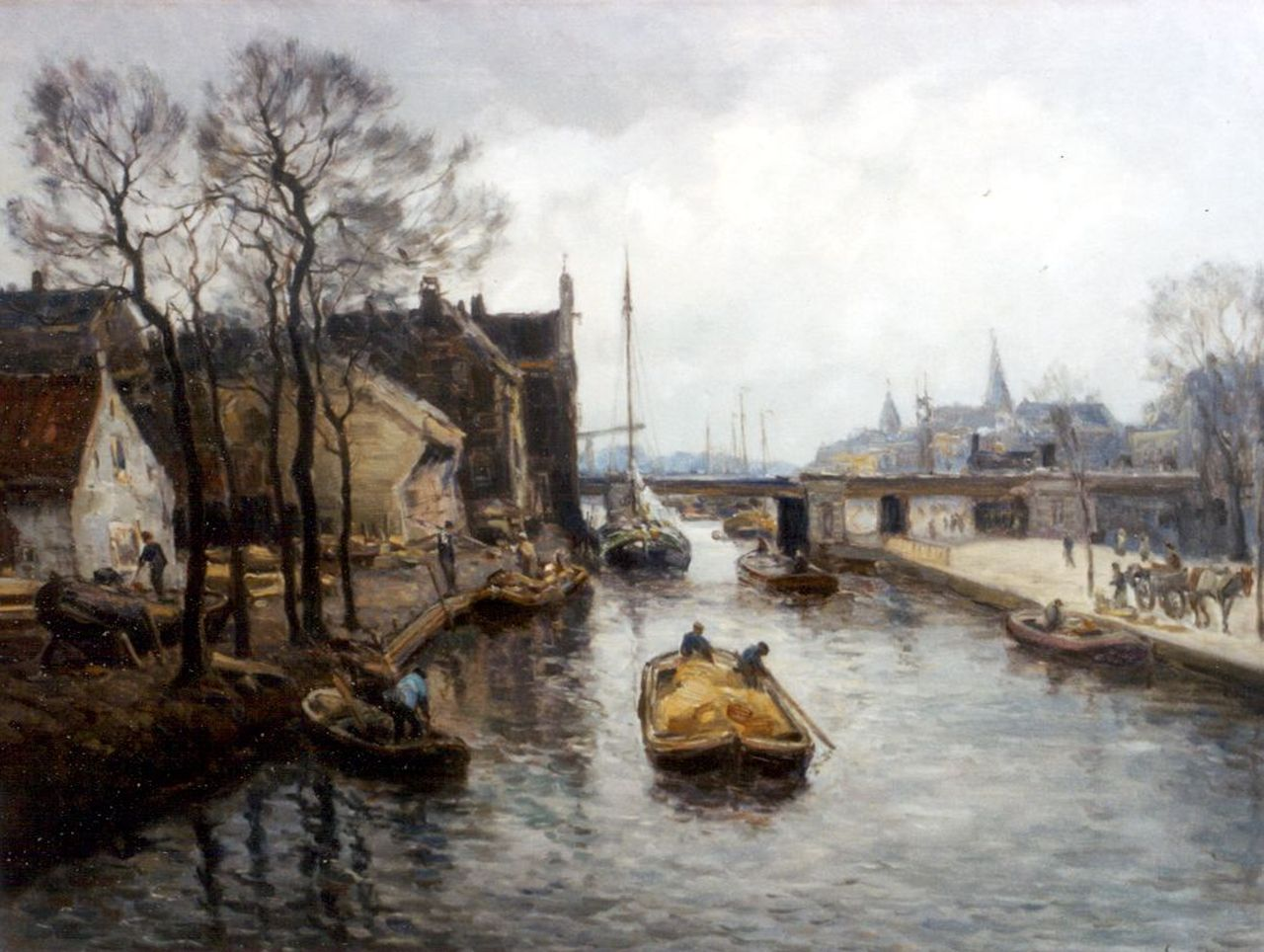 Moll E.  | Evert Moll, The 'Oude Haven', Rotterdam, oil on canvas 60.6 x 80.3 cm, signed l.r.