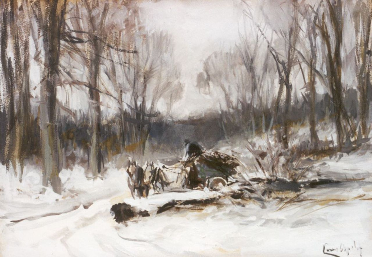 Apol L.F.H.  | Lodewijk Franciscus Hendrik 'Louis' Apol, Gathering wood in winter, watercolour and gouache on paper 16.9 x 24.3 cm, signed l.r.