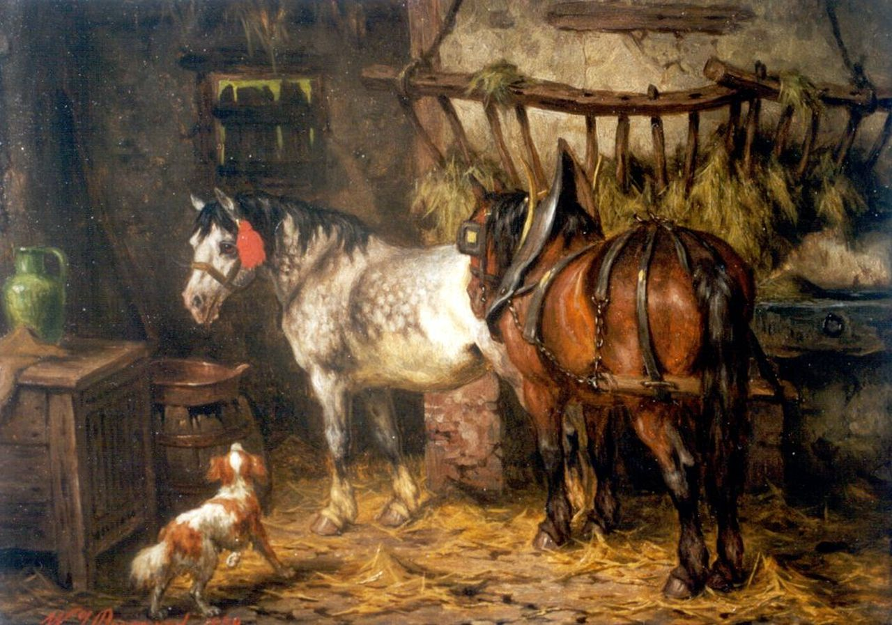 Boogaard W.J.  | Willem Johan Boogaard, A stable interior, oil on panel 19.7 x 27.1 cm, signed l.l. and dated 1878