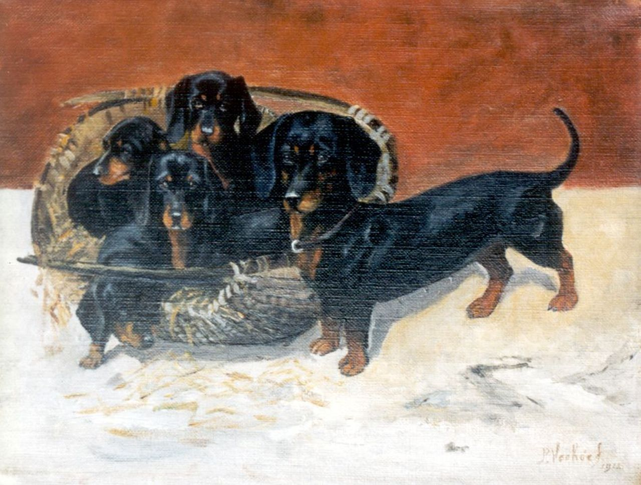 Pieter Verhoeff | Teckel with puppies, oil on canvas, 22.2 x 29.1 cm, signed l.r. and dated 1912