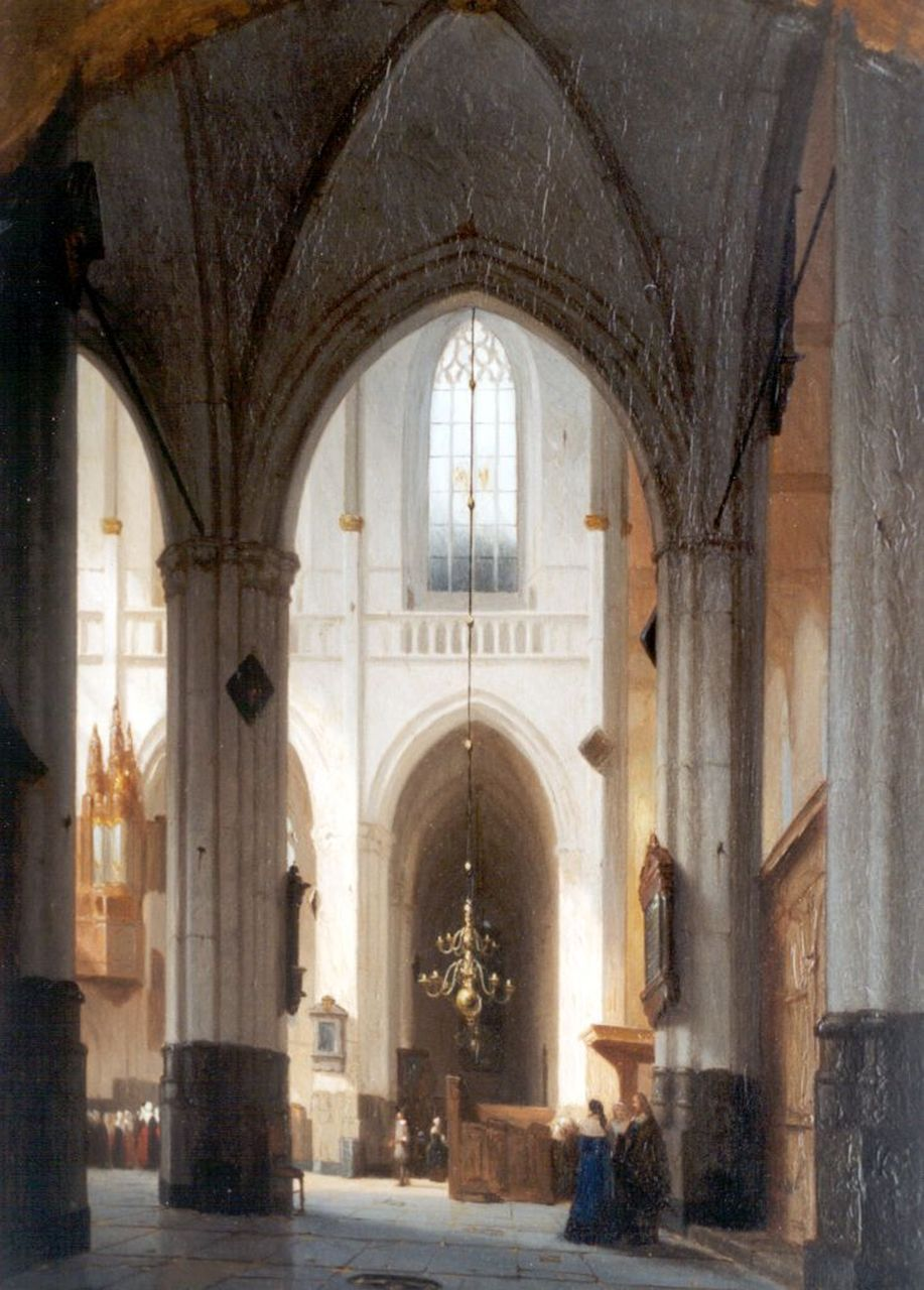 Schenkel J.J.  | Jan Jacob Schenkel, Interior of the Nieuwe Kerk, Amsterdam, oil on panel 48.0 x 36.0 cm, signed l.r.
