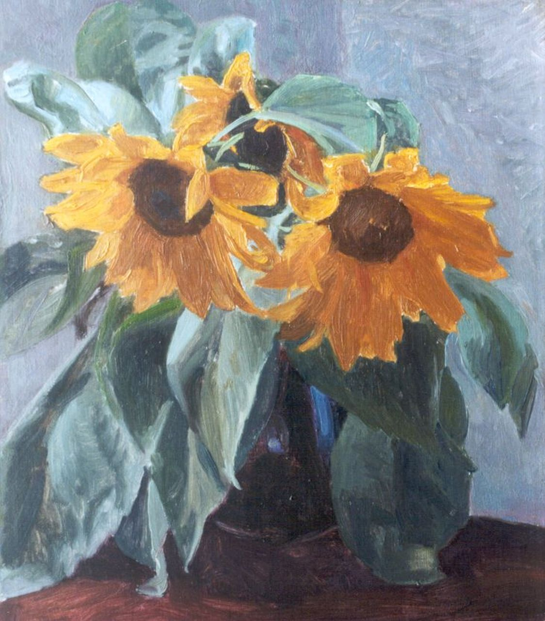 Altink J.  | Jan Altink, Sunflowers, oil on canvas 39.2 x 34.2 cm