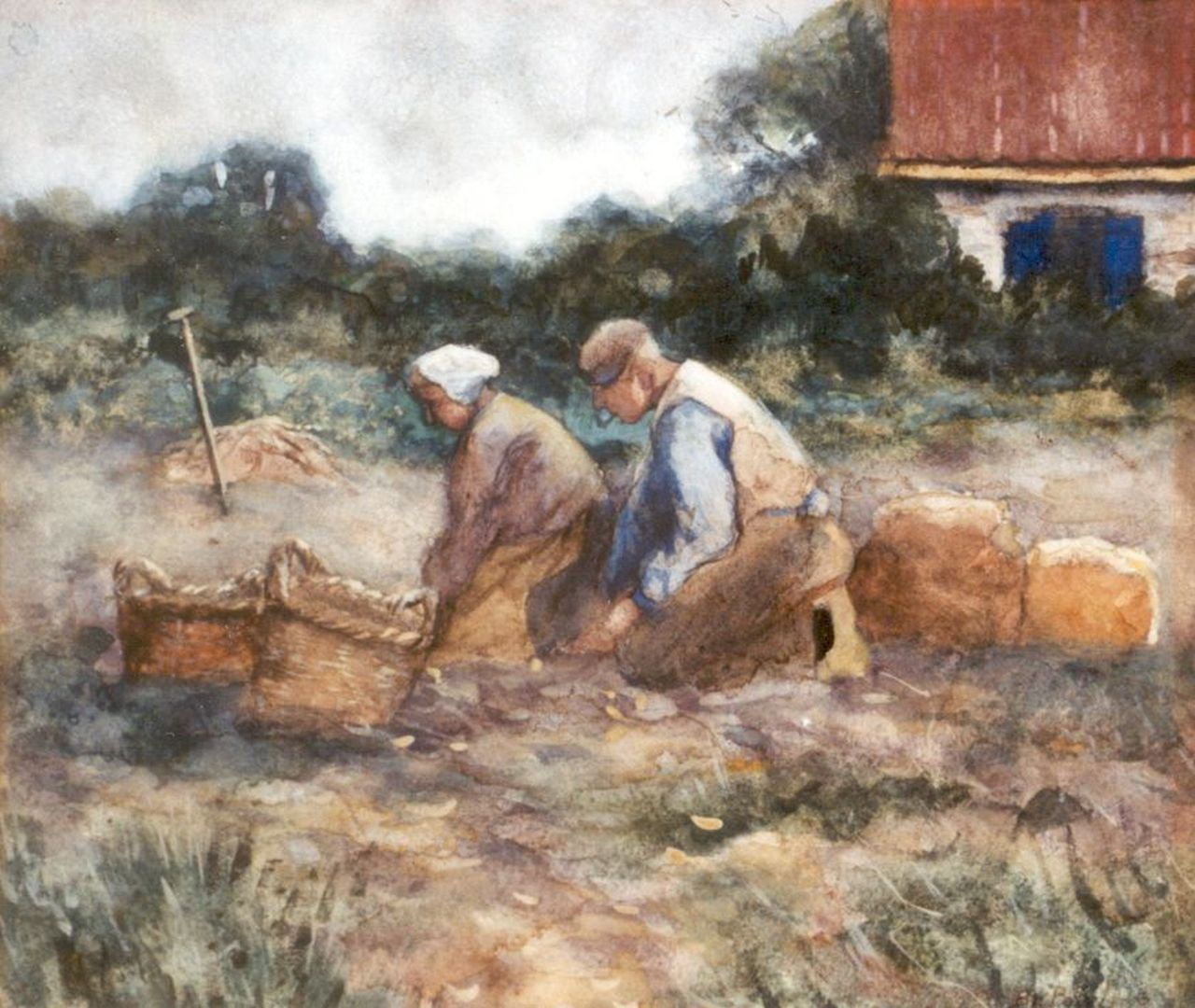 Polvliet B.J.A.  | 'Barend' Jan Abraham Polvliet, Digging up potatoes, watercolour on paper 25.5 x 29.0 cm, signed l.r.