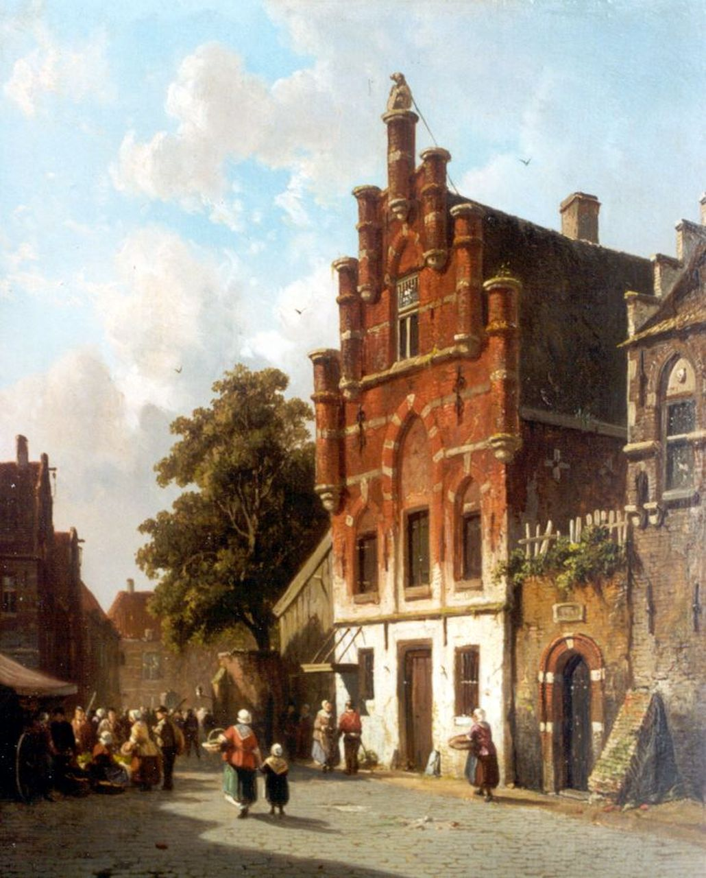 Eversen A.  | Adrianus Eversen, Market day, oil on panel 34.0 x 27.0 cm, signed l.r. and dated 1843 (indistinctly)