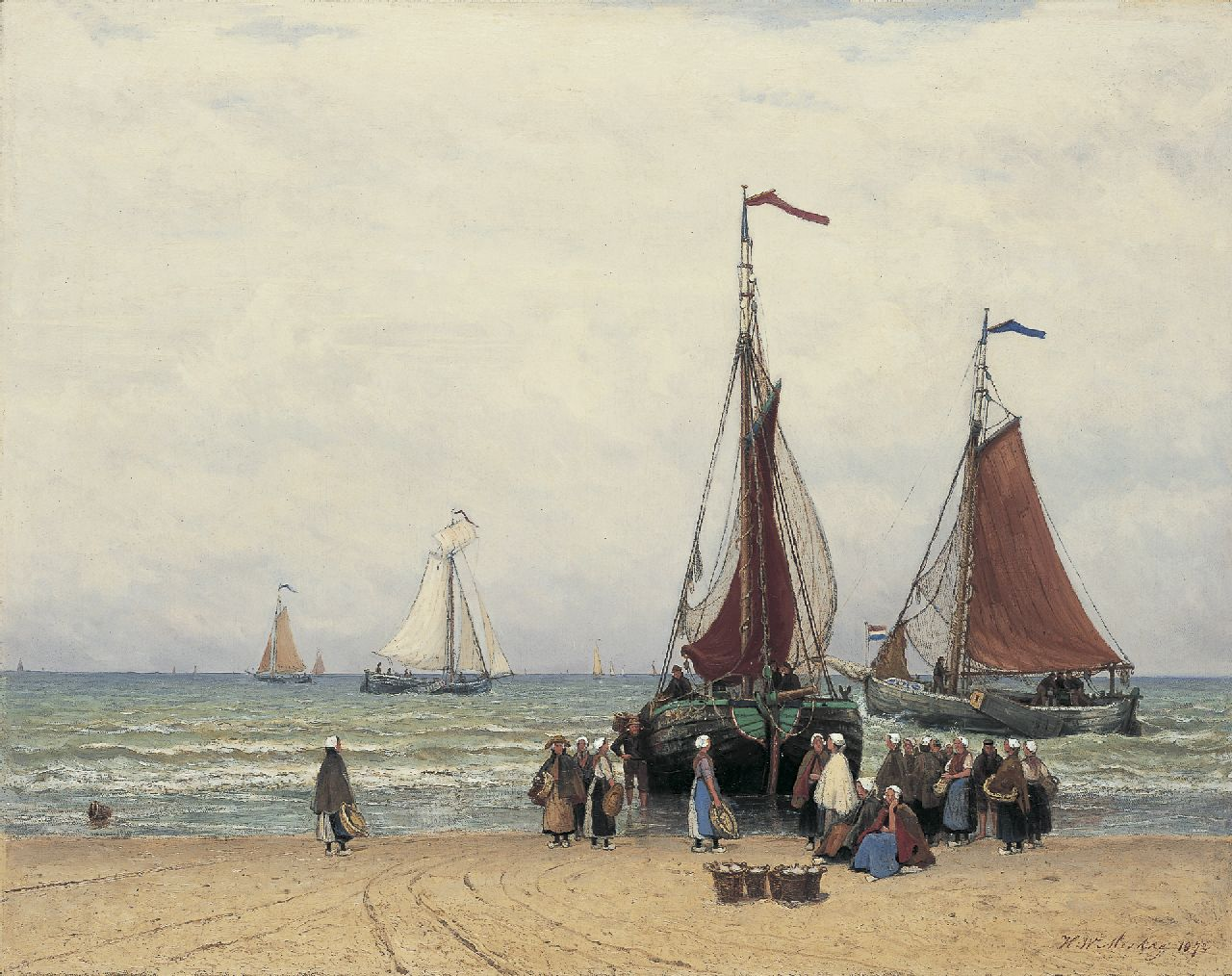 Mesdag H.W.  | Hendrik Willem Mesdag, Fisherfolk and 'bomschuiten' on the beach of Scheveningen, oil on canvas 69.5 x 88.3 cm, signed l.r. and dated 1872