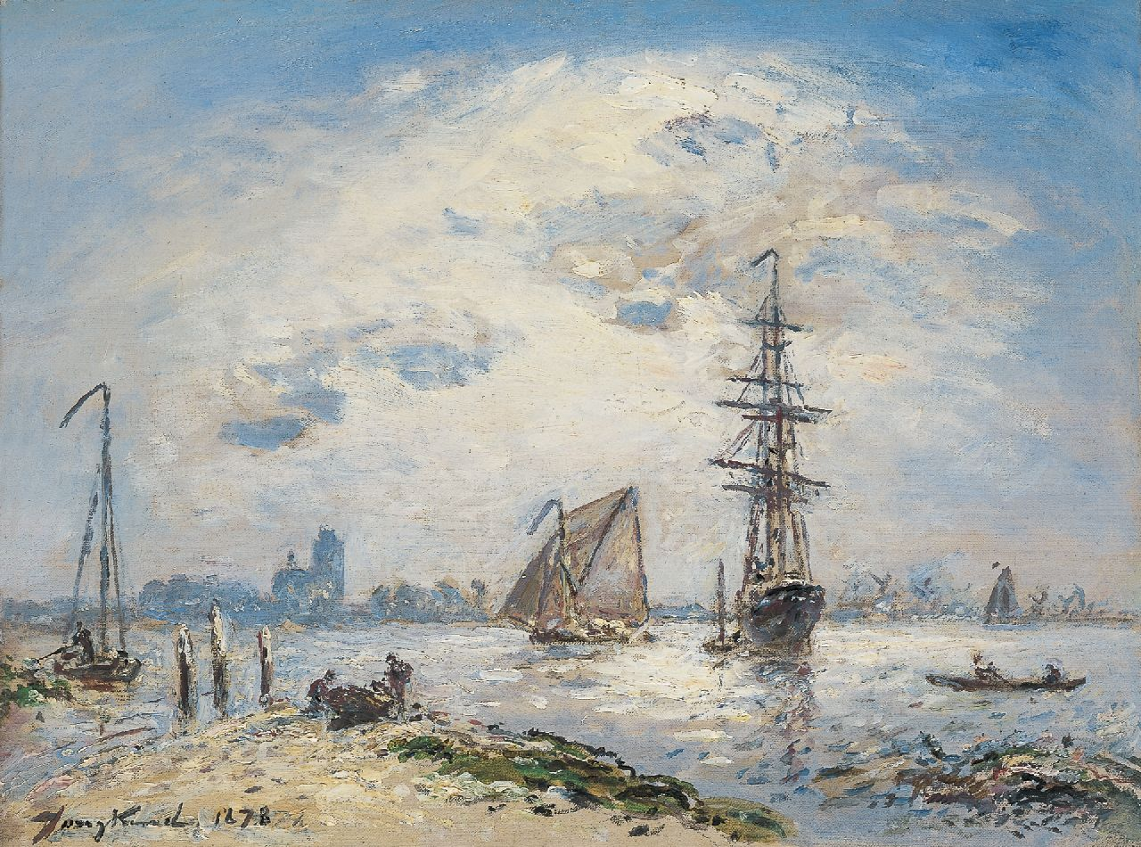 Jongkind J.B.  | Johan Barthold Jongkind, Shipping on the Oude Maas, Dordrecht, oil on canvas 24.5 x 32.3 cm, signed l.l. and dated 1878