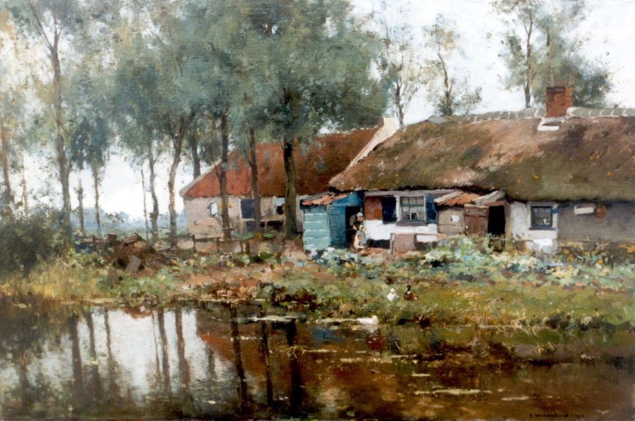 Vreedenburgh C.  | Cornelis Vreedenburgh, A farmstead, oil on canvas laid down on panel 49.8 x 75.6 cm, signed l.r. and dated 1910