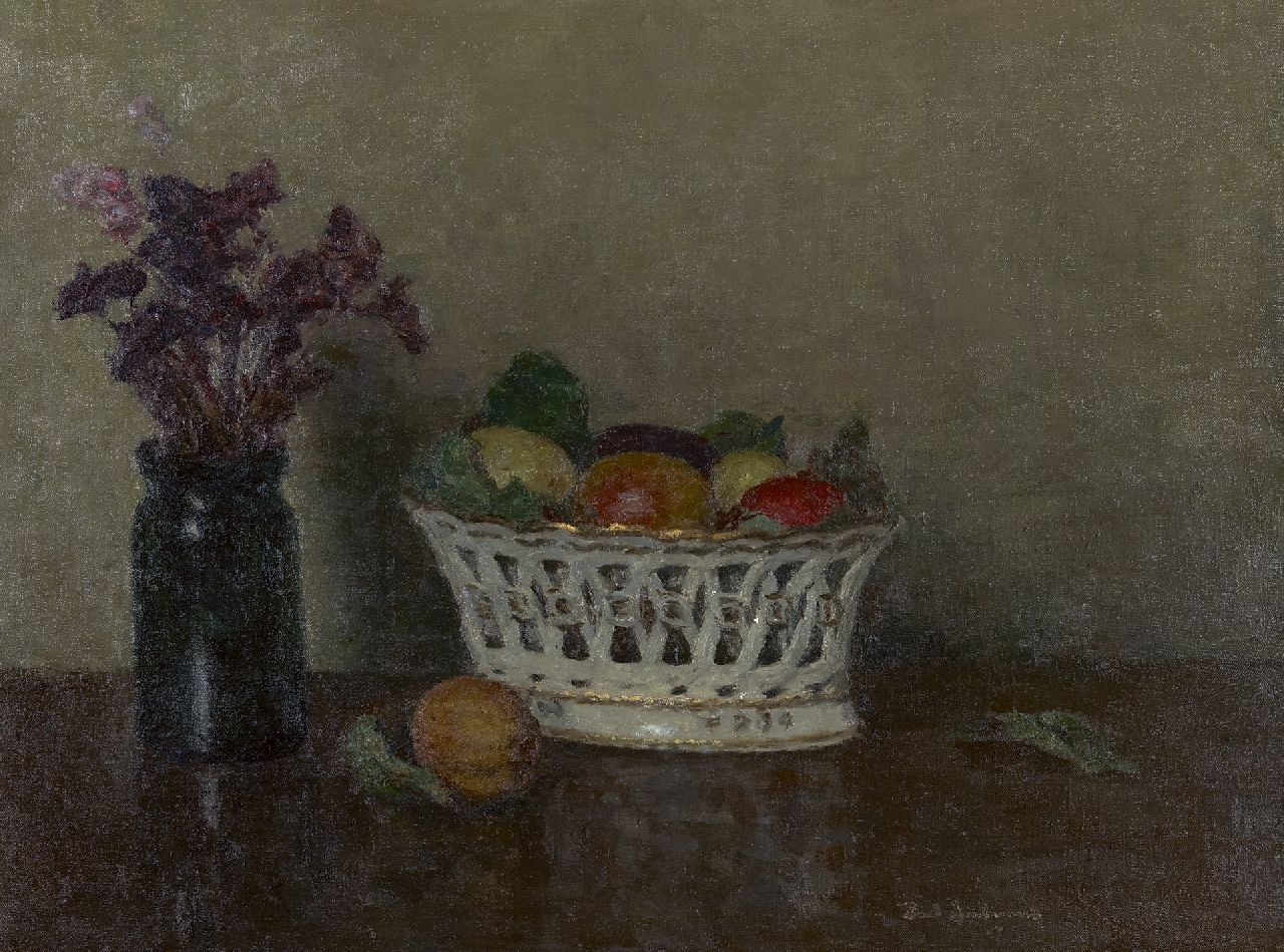 Paul Arntzenius | Still life of a fruit basket, oil on canvas, 45.0 x 60.0 cm, signed l.r. and dated on stretcher 1955