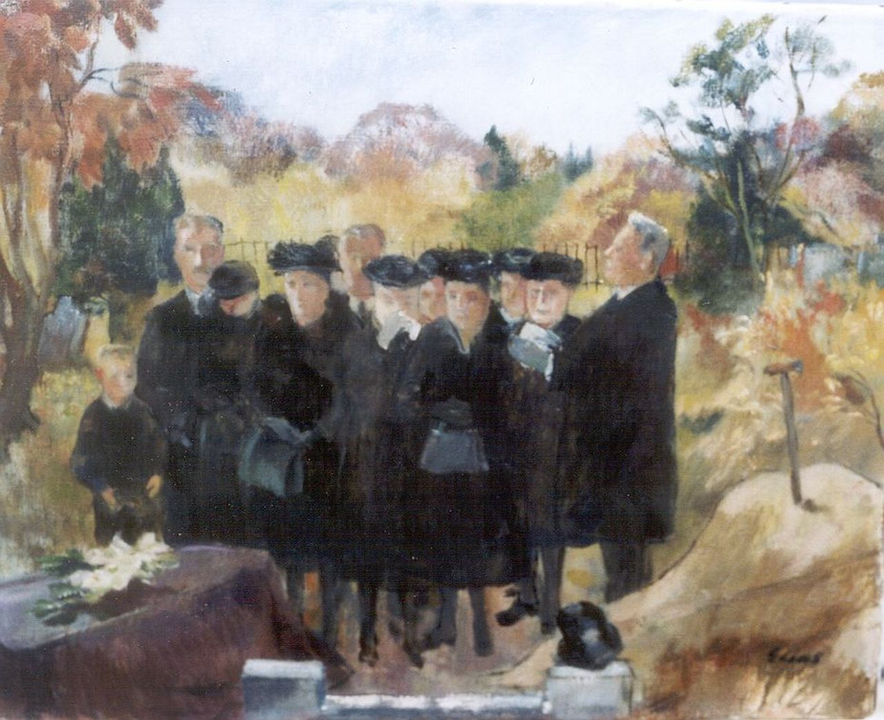 Josephine Bertha Elias | The funeral, oil on canvas, 40.3 x 50.3 cm, signed l.r.