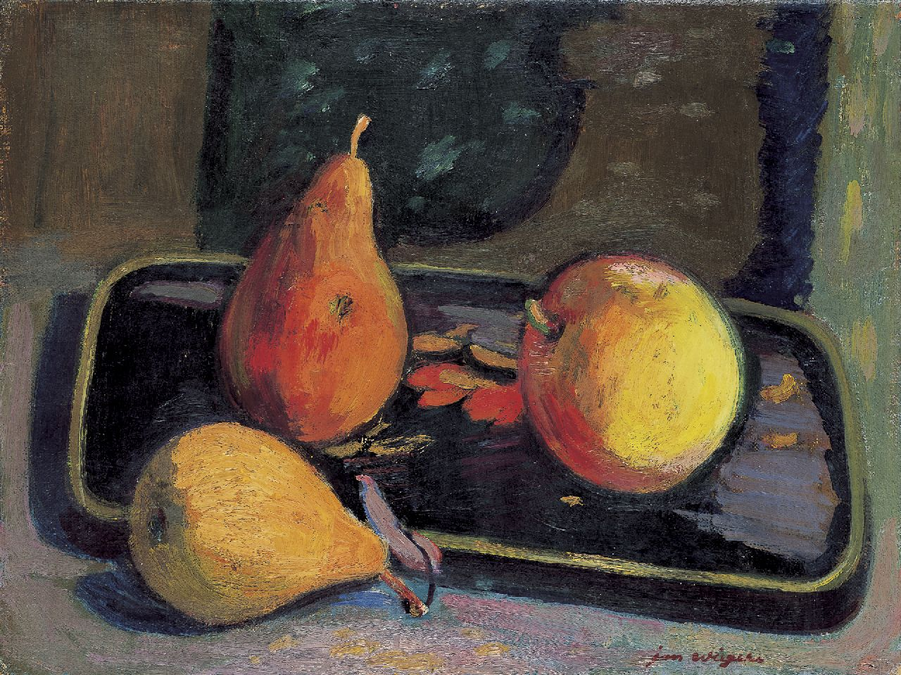 Wiegers J.  | Jan Wiegers, A still life with pears and a apple, oil on canvas 30.2 x 40.0 cm, signed l.r.