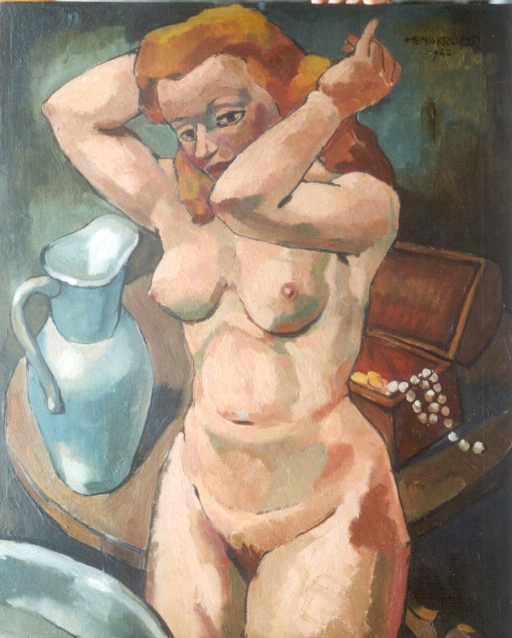 Krijger H.  | Hendrik Cornelis 'Henk' Krijger, A female nude, oil on panel 64.5 x 54.0 cm, signed u.r. and dated 1942
