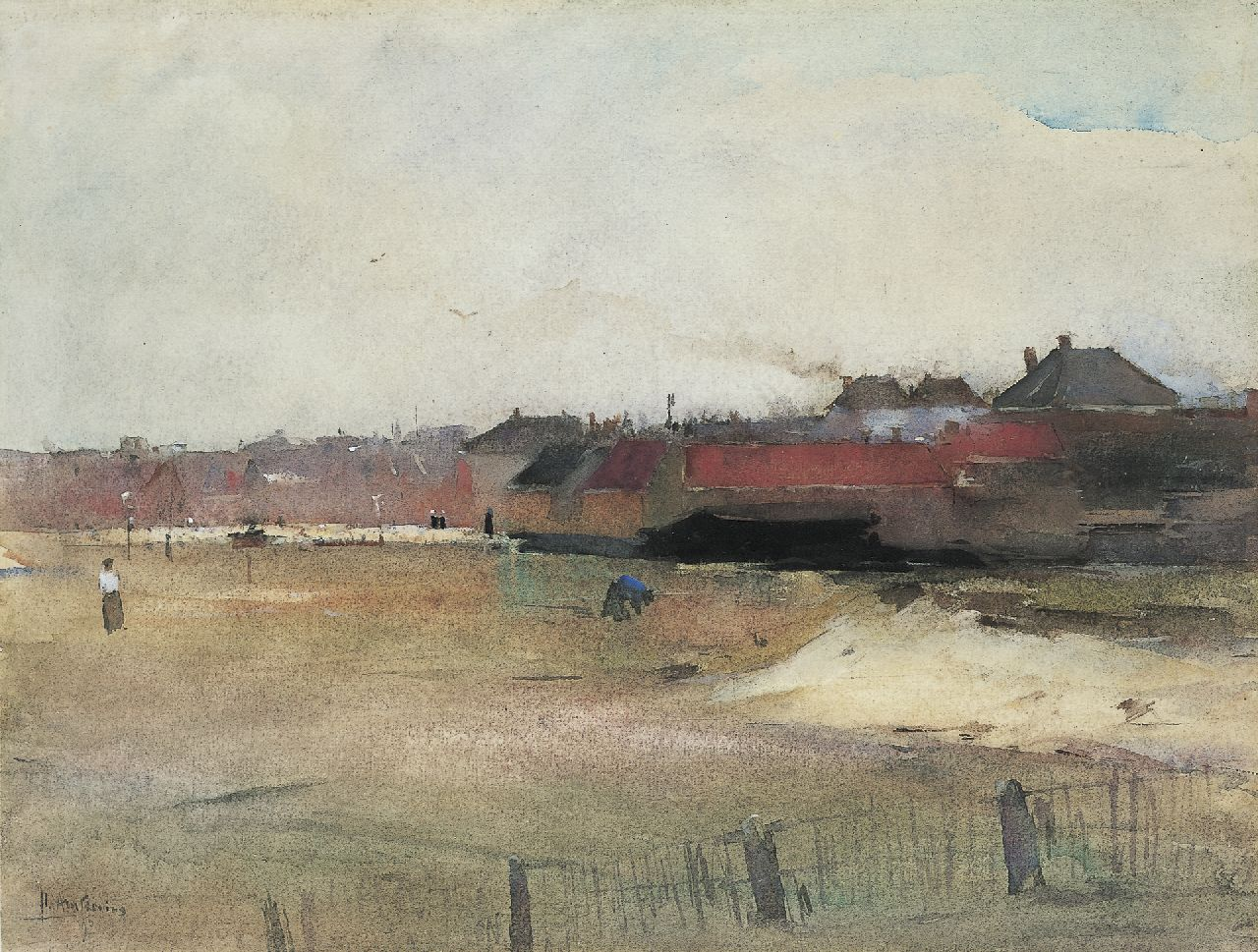 Arntzenius P.F.N.J.  | Pieter Florentius Nicolaas Jacobus 'Floris' Arntzenius, A view of a village, seen from the beach, watercolour on paper 29.8 x 39.4 cm, signed l.l. and dated '90/'95