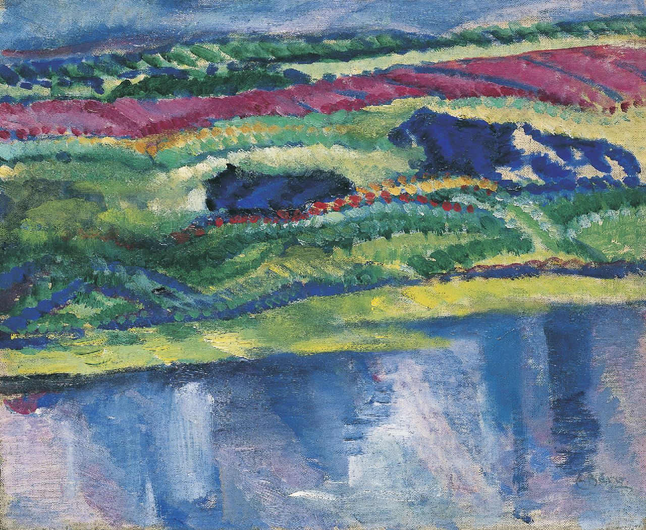 Berg E.  | Else Berg, Landscape with cows, oil on canvas laid down on board 40.0 x 48.5 cm, signed l.r. and painted ca. 1911-1912
