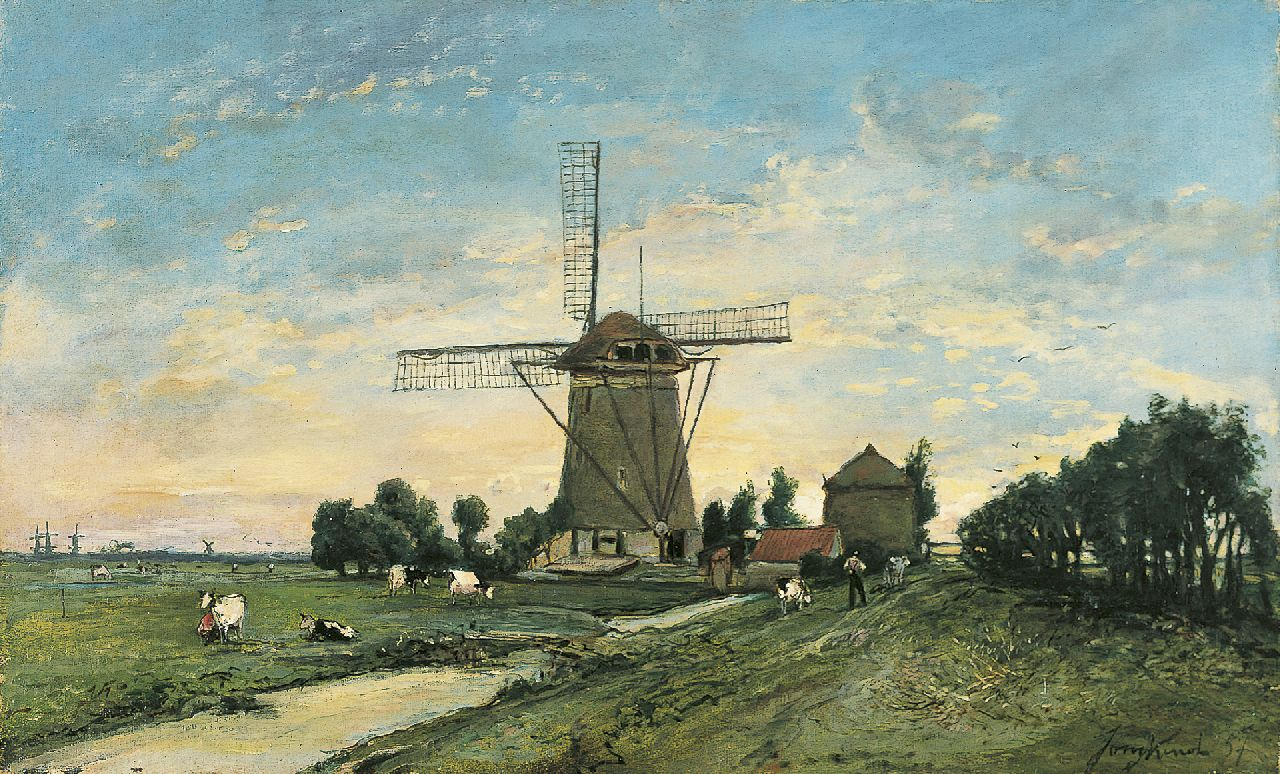 Jongkind J.B.  | Johan Barthold Jongkind, A windmill, Overschie, oil on canvas 34.7 x 55.8 cm, signed l.r. and dated '57