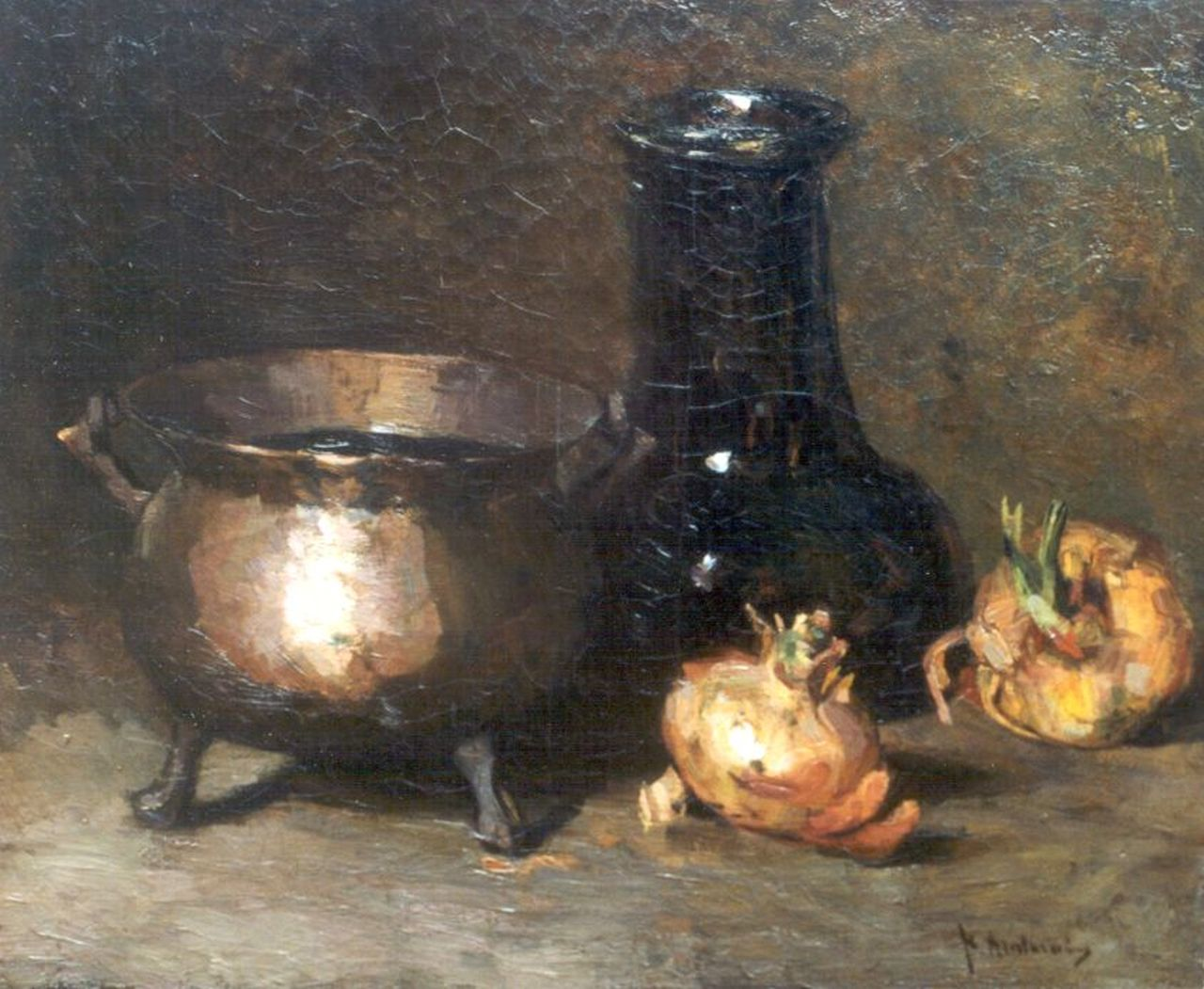 Arntzenius P.F.N.J.  | Pieter Florentius Nicolaas Jacobus 'Floris' Arntzenius, A still life with onions and a copper bowl, oil on canvas 38.5 x 46.3 cm, signed l.r.
