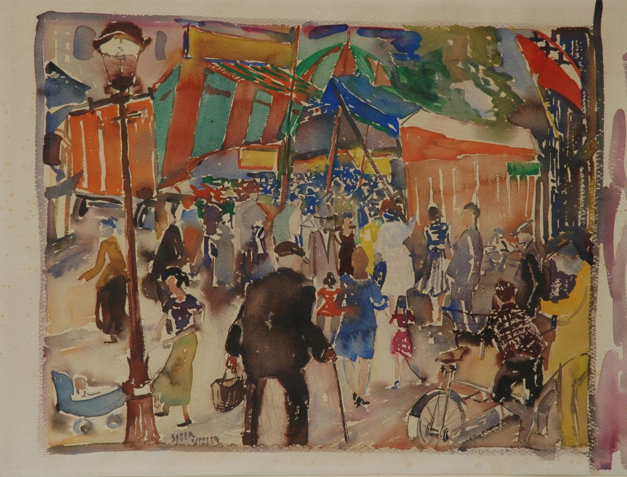 Sjoerd Visser | Queensday, Amsterdam, pencil and watercolour on paper, 55.0 x 71.6 cm, signed left of the centre