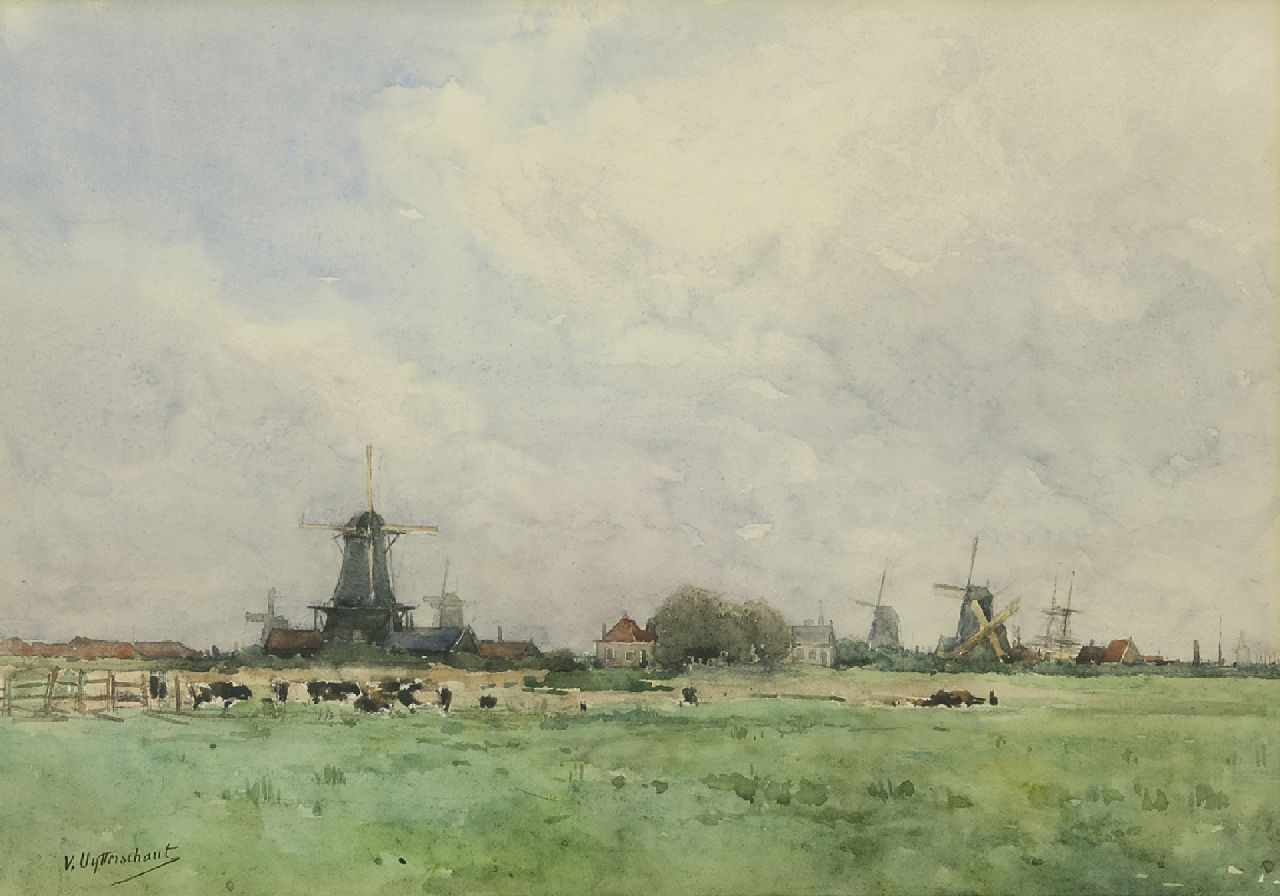 Victor Uytterschaut | Windmills in a Dutch polder landscape, pencil and watercolour on paper, 32.0 x 47.0 cm, signed l.l.