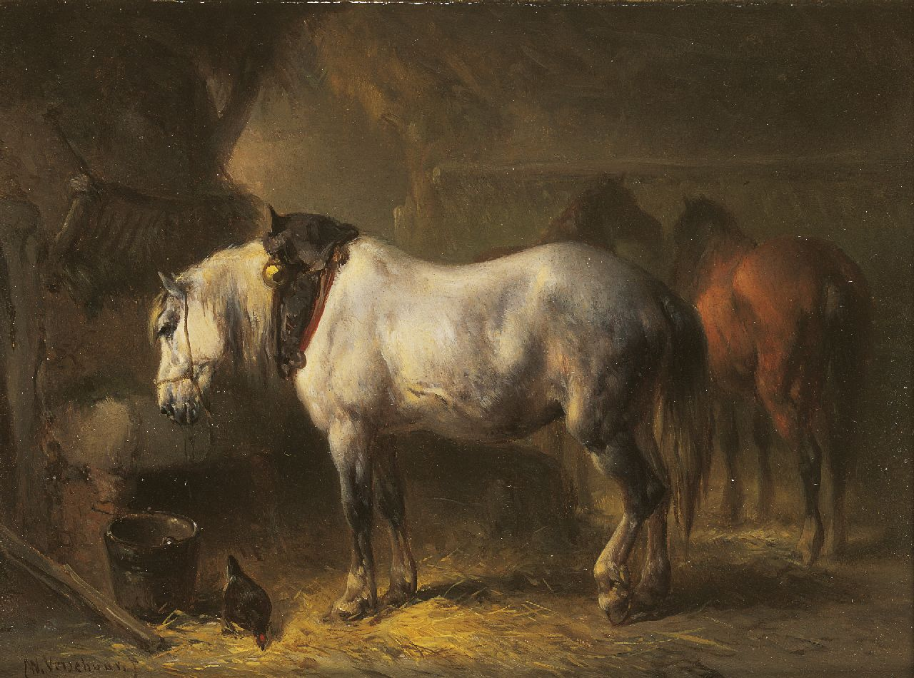 Verschuur W.  | Wouterus Verschuur, In the stable, oil on panel 13.9 x 18.5 cm, signed l.l. and on label (reverse)