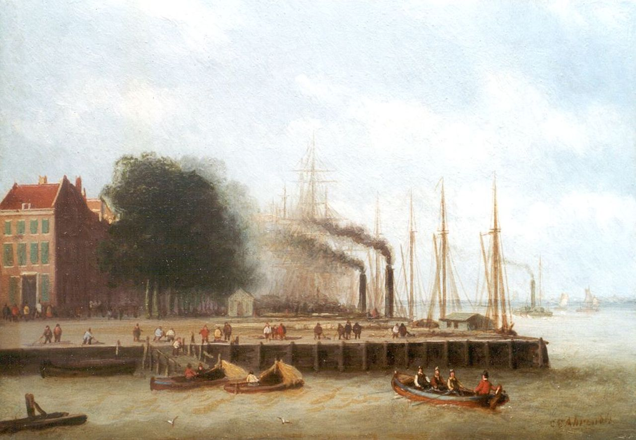 Ahrendts C.E.  | Carl Eduard Ahrendts, A view of the 'Boompjes', Rotterdam, oil on panel 16.1 x 22.8 cm, signed l.r.