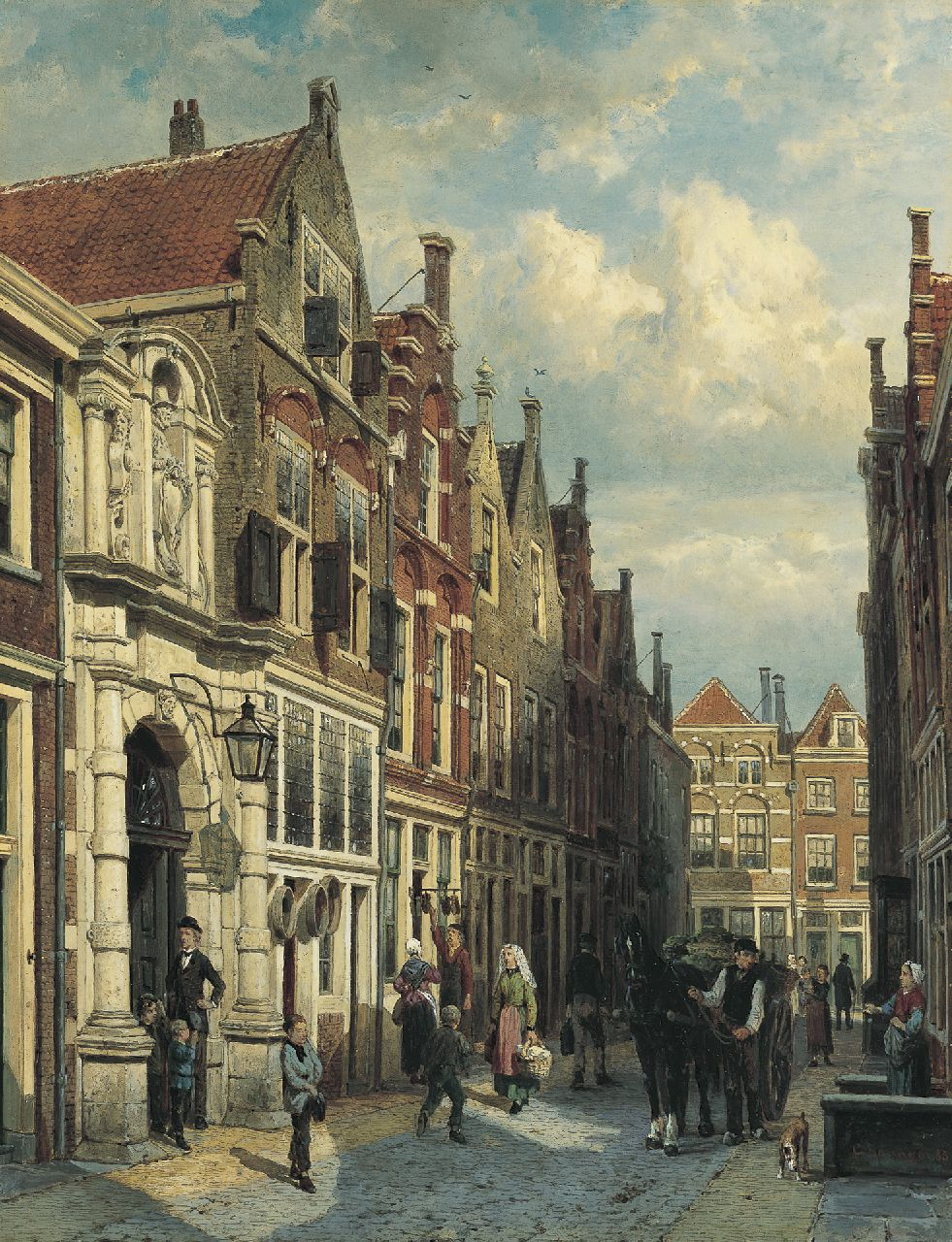 Springer C.  | Cornelis Springer, View of the Vriesestraat, with the Gemeenteschool, Dordrecht, oil on panel 52.1 x 40.4 cm, signed l.r. and dated 1885 on the reverse