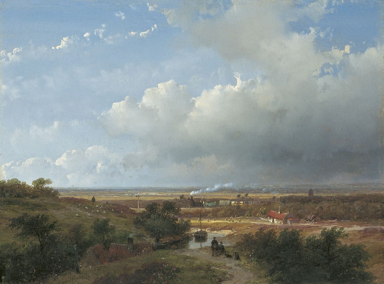 Schelfhout A.  | Andreas Schelfhout, The first Dutch steam train between Haarlem and Leiden, oil on panel 25.0 x 33.2 cm, signed l.l. and dated '53