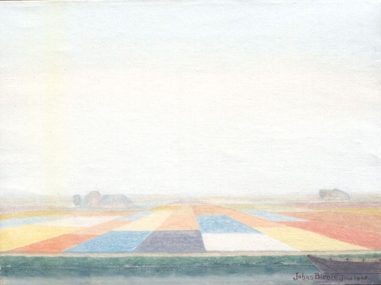 Birnie J.  | Johan Birnie, Bulb fields, oil on canvas 30.5 x 40.7 cm, signed l.r. and painted June 1945