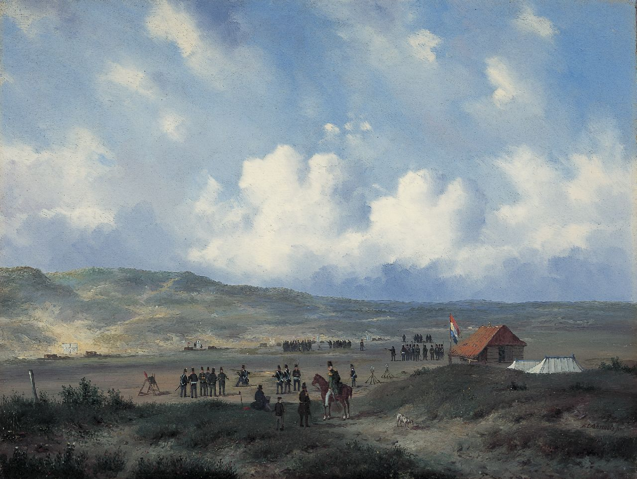 Ahrendts C.E.  | Carl Eduard Ahrendts, Infantry at the shooting-range in the dunes near Waalsdorp, oil on panel 33.0 x 43.7 cm, gesigneerd rechtsonder and te dateren na 1840