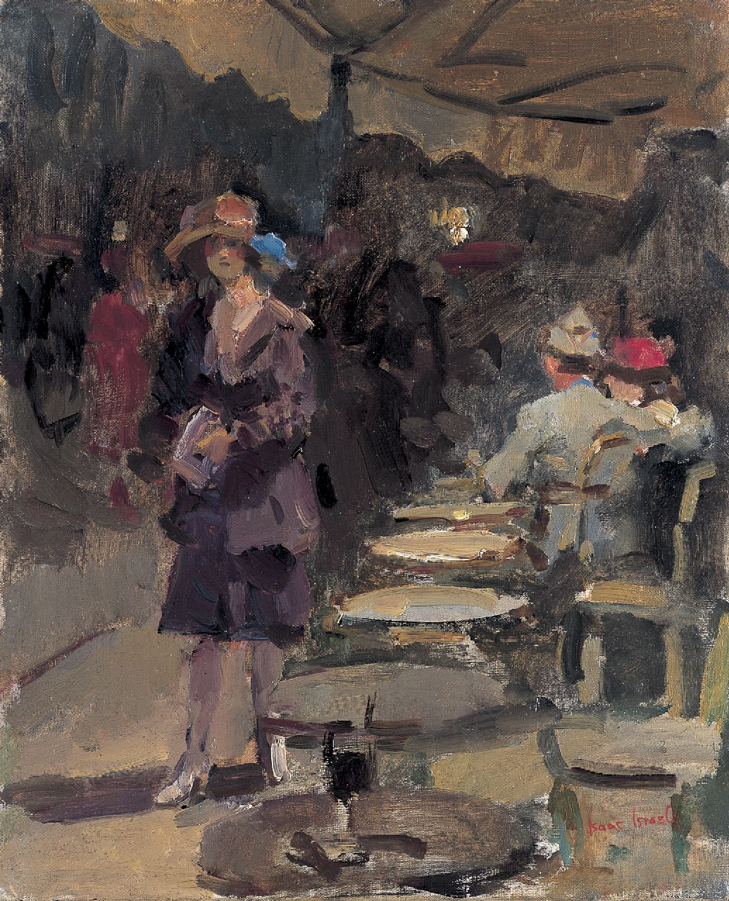 Israels I.L.  | 'Isaac' Lazarus Israels, Outdoor café, oil on canvas 46.0 x 38.2 cm, signed l.r.