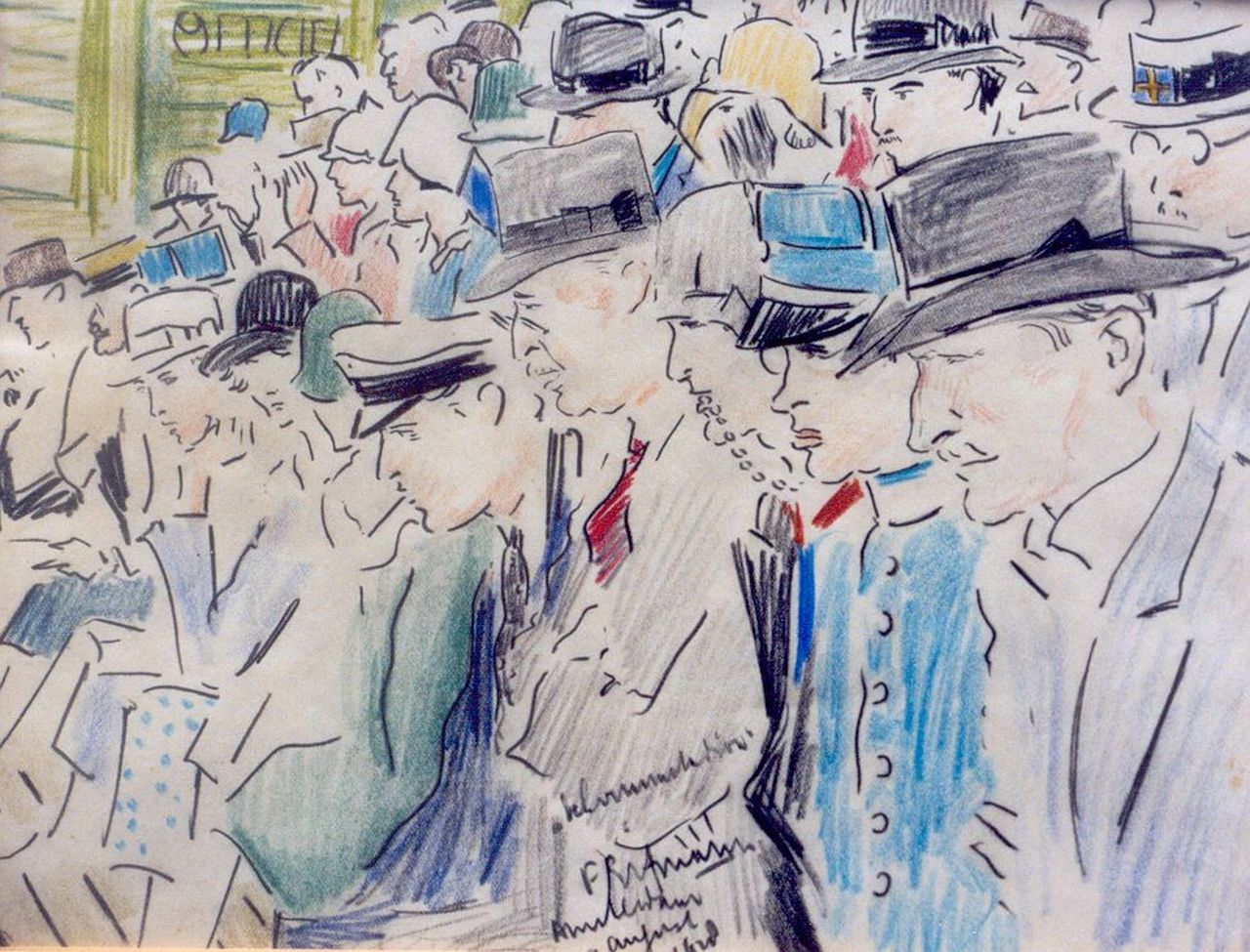 Ferdinand Erfmann | Spectators, chalk on paper, 21.3 x 27.4 cm, signed l.c. and executed on 'August 9th 1928 Amsterdam'