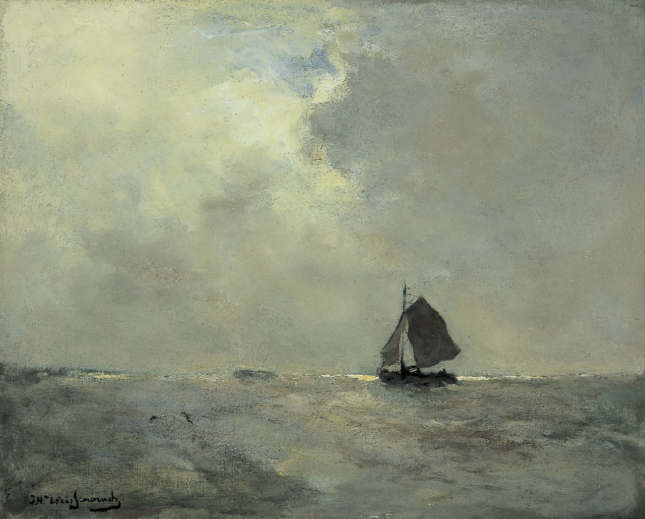 Weissenbruch H.J.  | Hendrik Johannes 'J.H.' Weissenbruch, A sailing vessel, oil on canvas 39.6 x 49.3 cm, signed l.l.