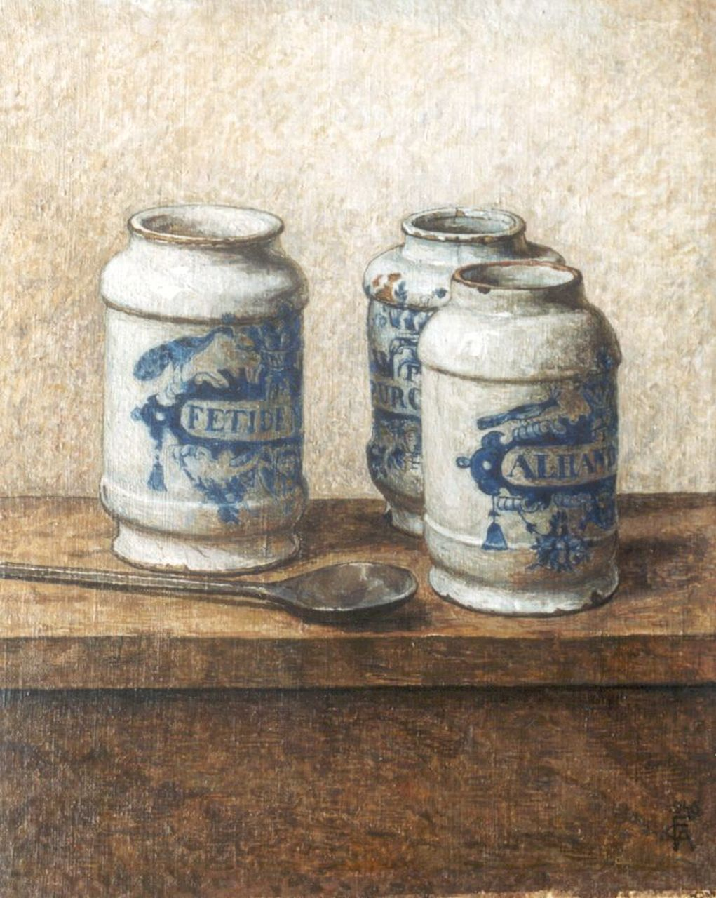 Feldmann C.A.  | Karel Albert 'Carl Albert' Feldmann, Pharmacist's jars, oil on canvas laid down on panel 33.2 x 28.5 cm, signed l.r. with monogram and dated 1946