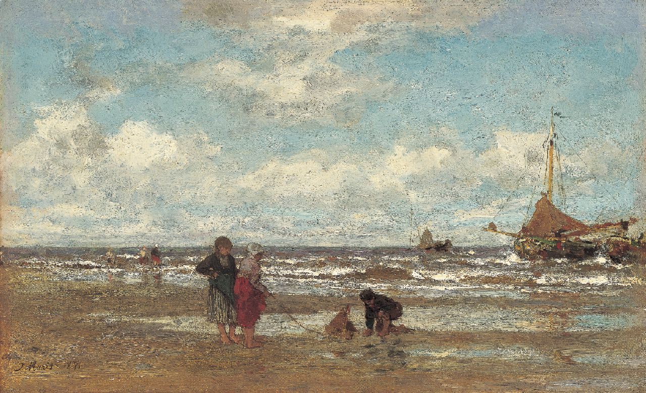 Maris J.H.  | Jacobus Hendricus 'Jacob' Maris, Children playing on the beach, Scheveningen, oil on canvas 22.0 x 35.8 cm, signed l.l. and dated 1871