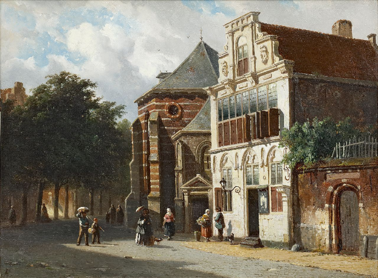 Eversen A.  | Adrianus Eversen, A summer view of the Petrus church and 'Stedehuys' in Woerden, oil on panel 27.6 x 37.4 cm, signed l.l. with monogram