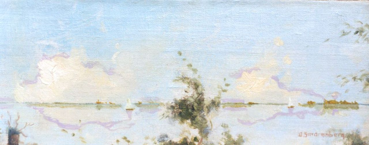 Smorenberg D.  | Dirk Smorenberg, The Loosdrechtse Plassen, oil on canvas laid down on panel 11.2 x 28.7 cm, signed l.r.