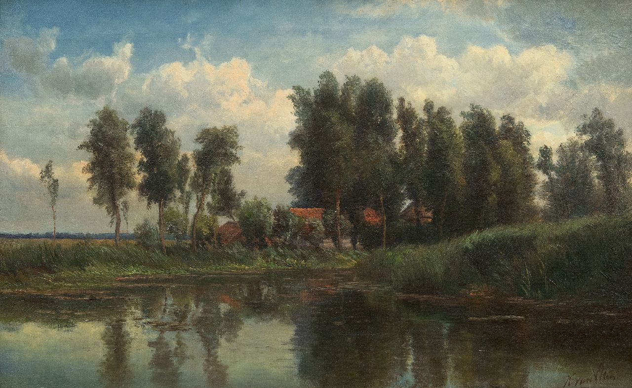 Kruseman van Elten H.D.  | Hendrik Dirk Kruseman van Elten | Paintings offered for sale | A farm near the water-front, oil on canvas 36.1 x 57.8 cm, signed l.r
