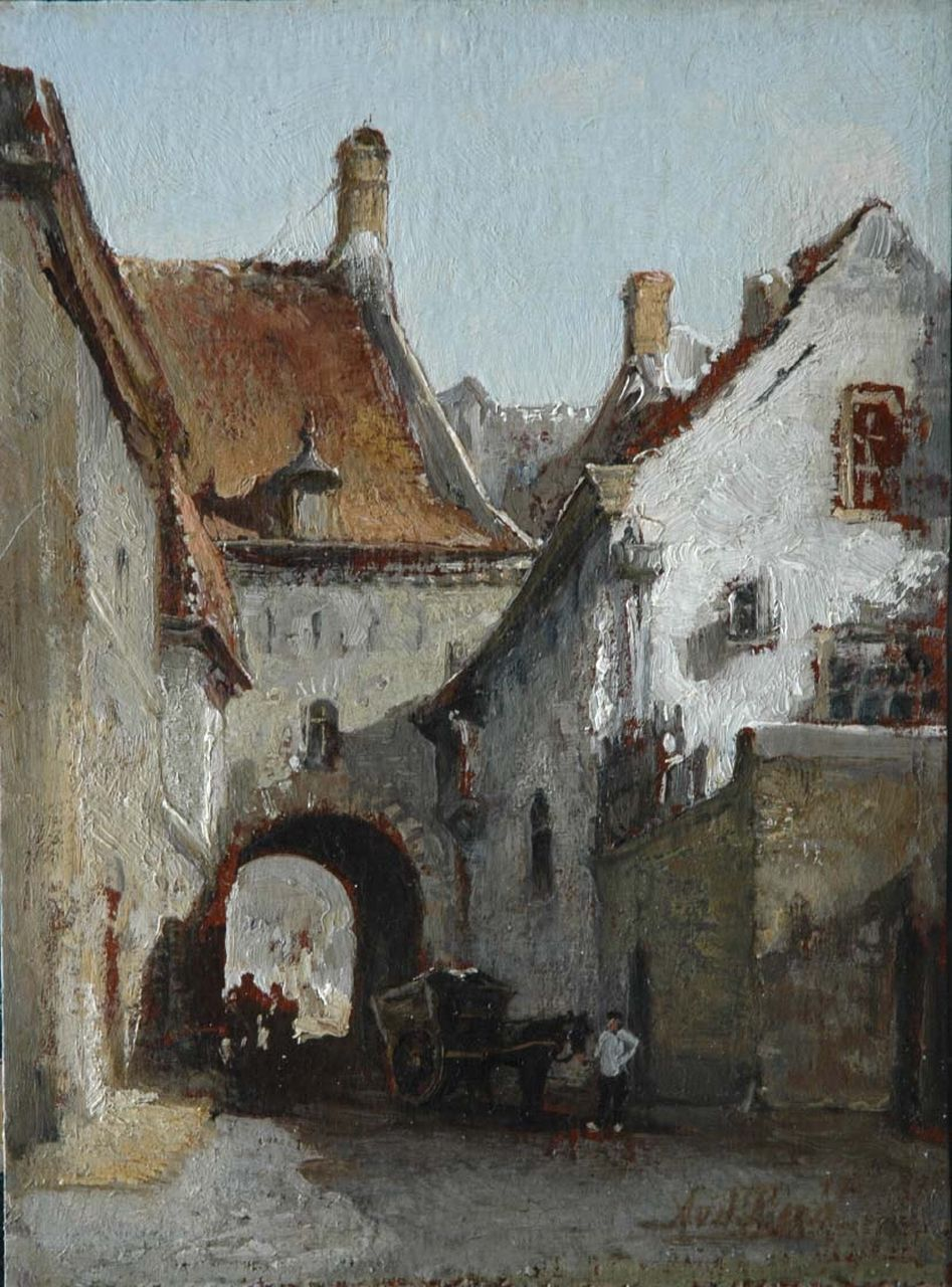 Andries van den Berg | A view of Zutphen, oil on board laid down on panel, 31.3 x 23.5 cm, signed l.r. and reverse