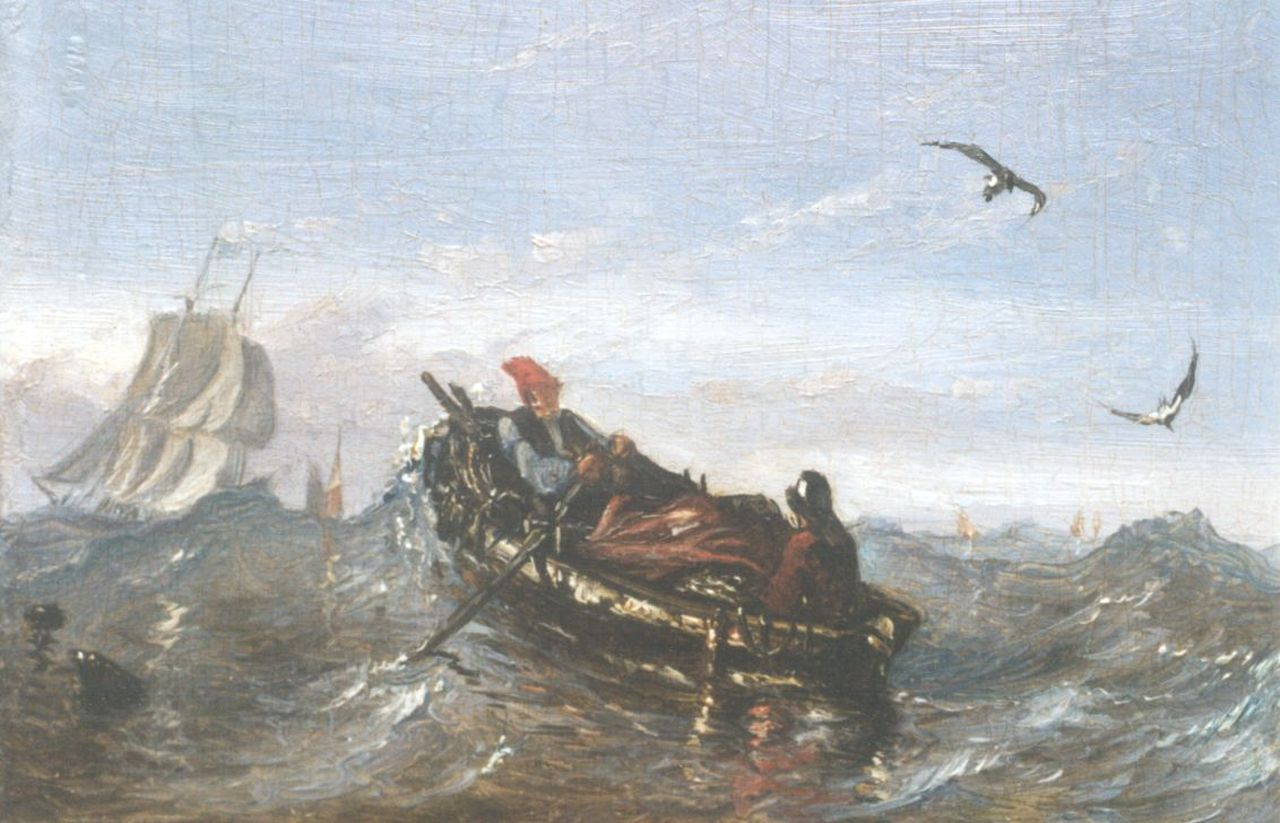 Beest A. van | Albertus van Beest, A barge on choppy waters, oil on panel 9.2 x 13.4 cm