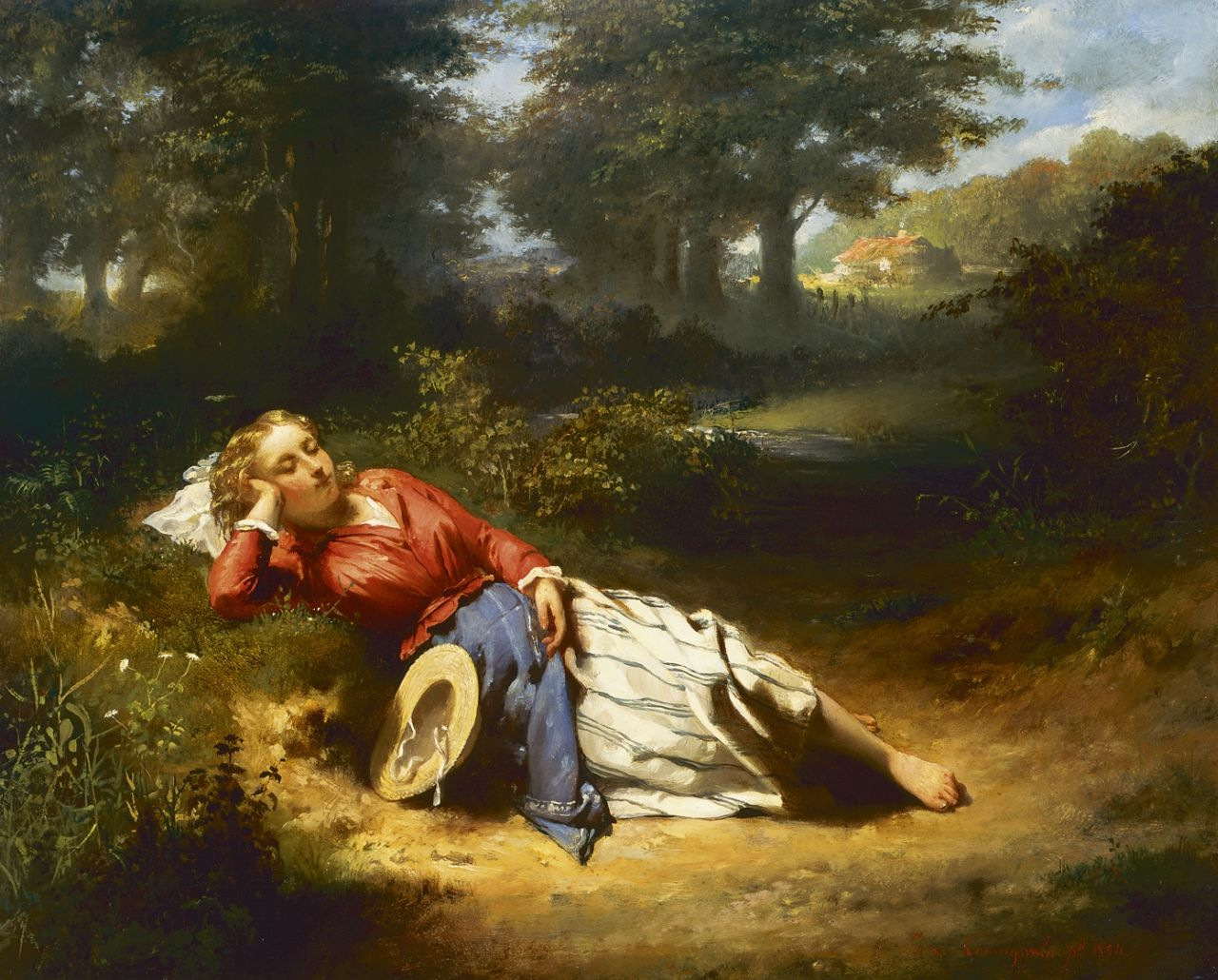 Jacobus van Koningsveld | A sleeping beauty, oil on panel, 34.5 x 43.5 cm, signed l.r. and dated 1854