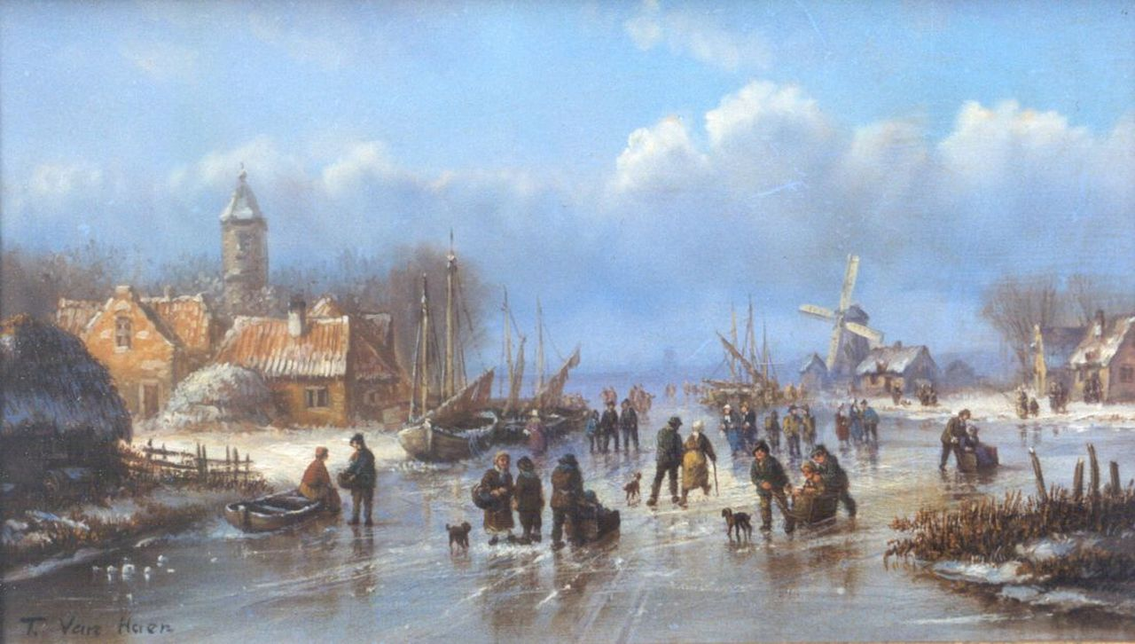 van Haen | A winter landscape with skaters on the ice, oil on panel, 16.0 x 26.9 cm, signed l.l.