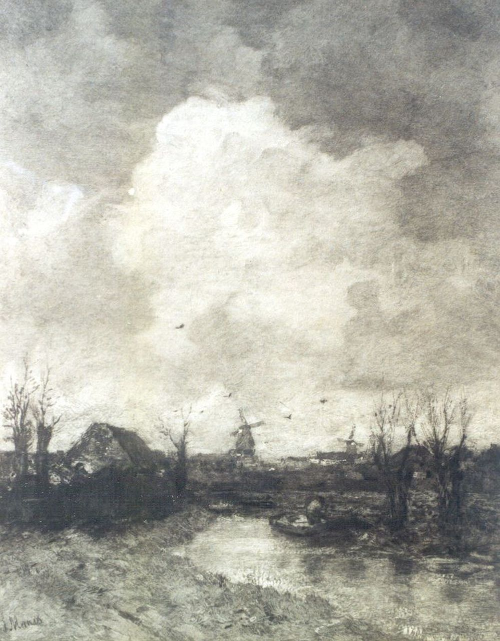 Johannes Graadt van Roggen | A landscape, with a windmill in the distance near The Hague, after J.H. Maris, etching on paper, 50.0 x 63.0 cm, signed l.r.