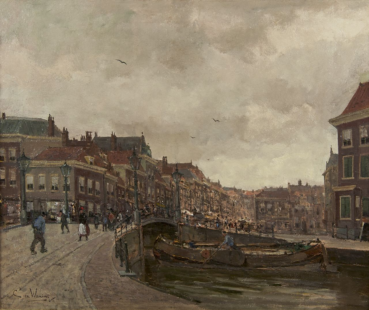 Kees van Waning | A view of the 'Wagenbrug' and the 'Wagenstraat' in The Hague, oil on canvas, 51.2 x 61.3 cm, signed l.l.